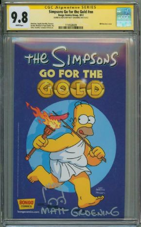 Simpsons Go For The Gold CGC 9.8 Signature Series Signed Matt Groening Bart Sketch Bongo Comics